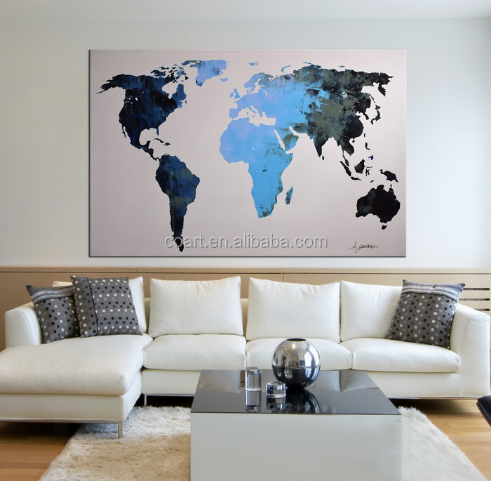 Modern Abstract Blue World Map Office Decor Canvas Wall Art Painting
