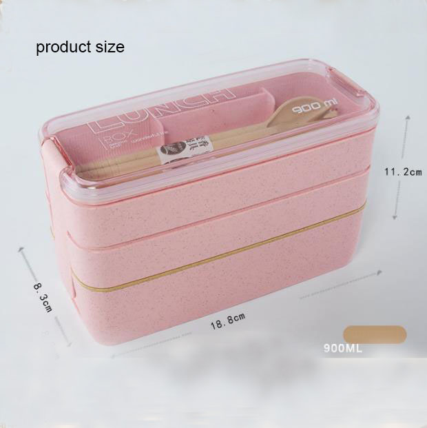 Fashion Natural Environment Plastic Lunch Box 3 Layer Fork Spoon Lunch Box