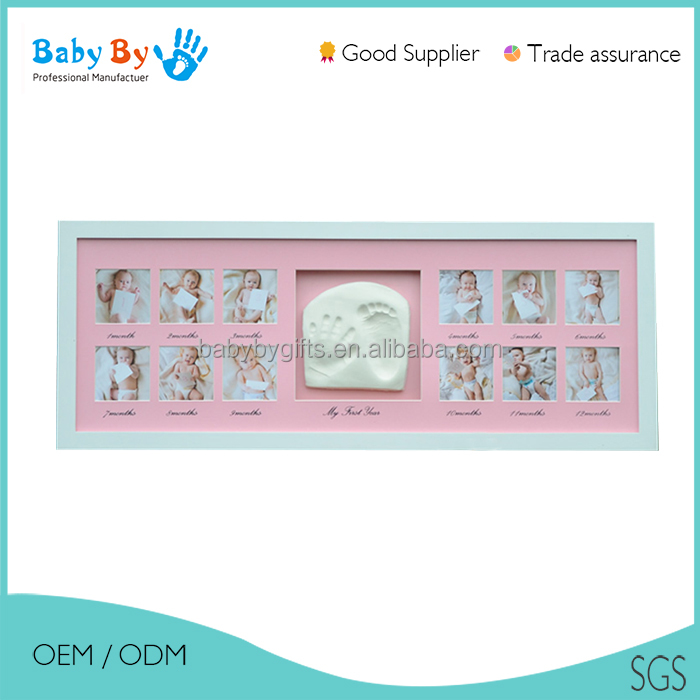 Wholesale custom different size newborn baby photo frames with inkpad