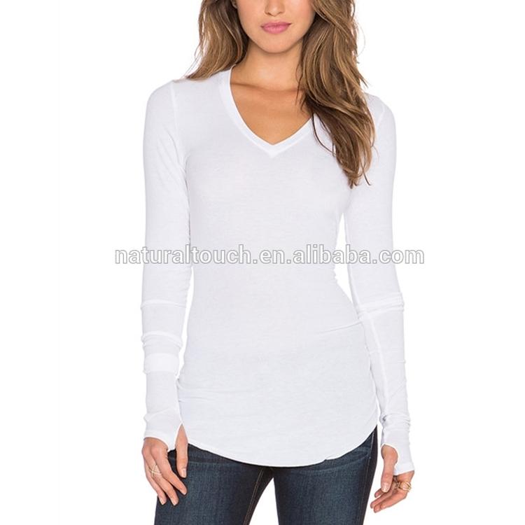 893352ad11ff6c Wholesale custom blank Basic women long sleeve V neck white plain T shirts  with open thumb hole