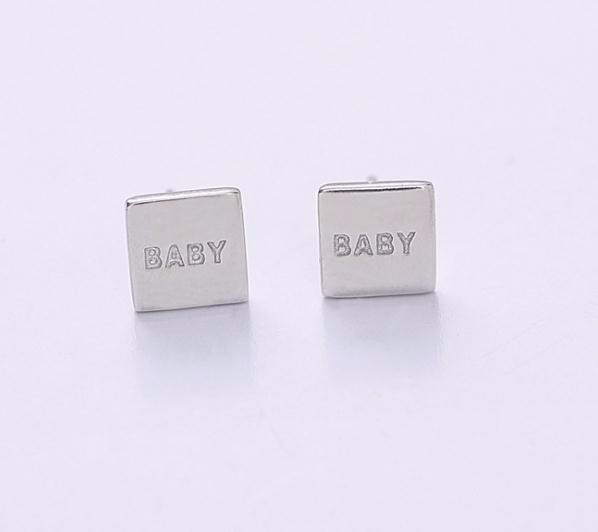 Fashion Jewelry 925 Sterling Silver Square Shape Baby Stud Earrings