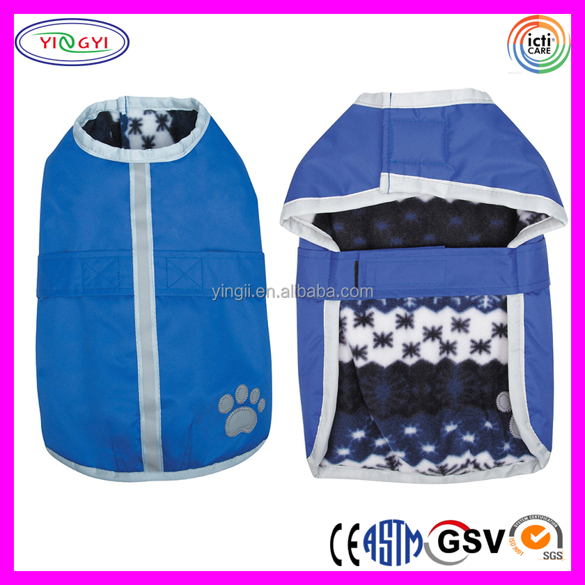 C971 Polyester Water Resistant Reversible Pets Coats Blanket Cold Weather Jacket Blanket Coat
