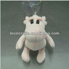 2013 hot sell hippo style plush keychain toy with sucker
