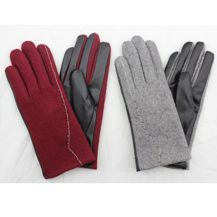 ladies simple grey and red woolen and PU leather hand gloves women