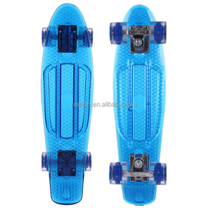 22'' Mini Cruiser Crystal Clear deck Skateboard Retro Wheels Outdoor Complete Skateboard for Kids