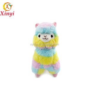 Rainbow Plush llama With Pink Garland Wholesale Pretty Stuffed Animal Soft Alpaca Plush Toys