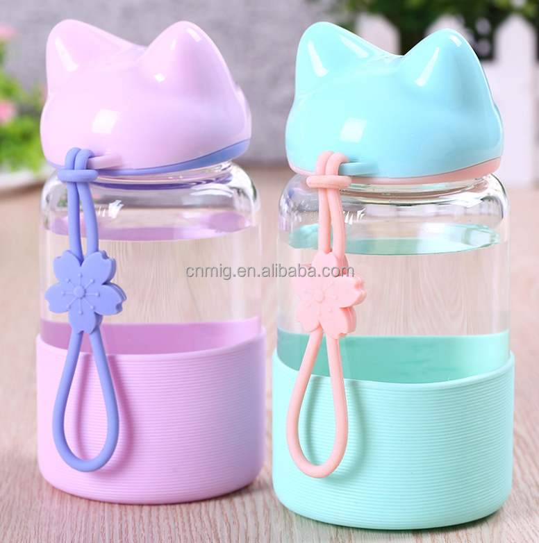 Cat shaped clear transparent glass water bottle for girls