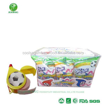 wrapped whistle bubble rolls gum/toy candy:12 rolls-per box