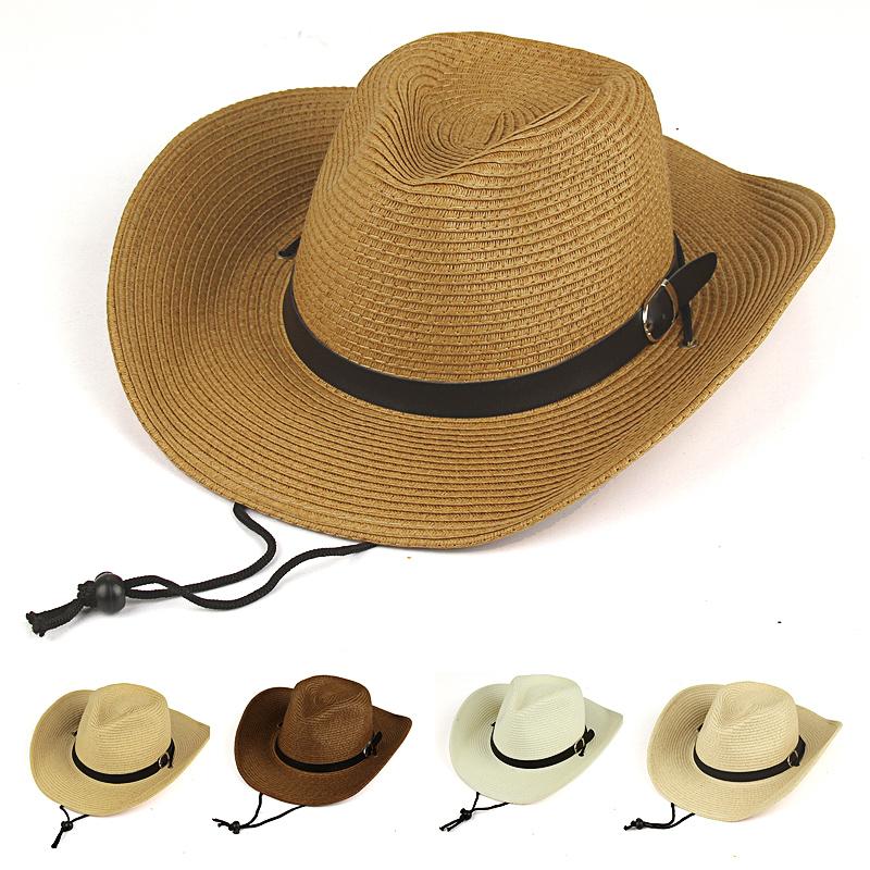 44e4965c Get Quotations · 2015 New Strawhat male cowboy hat folding beach sunbonnet large  brim hat summer sun-shading