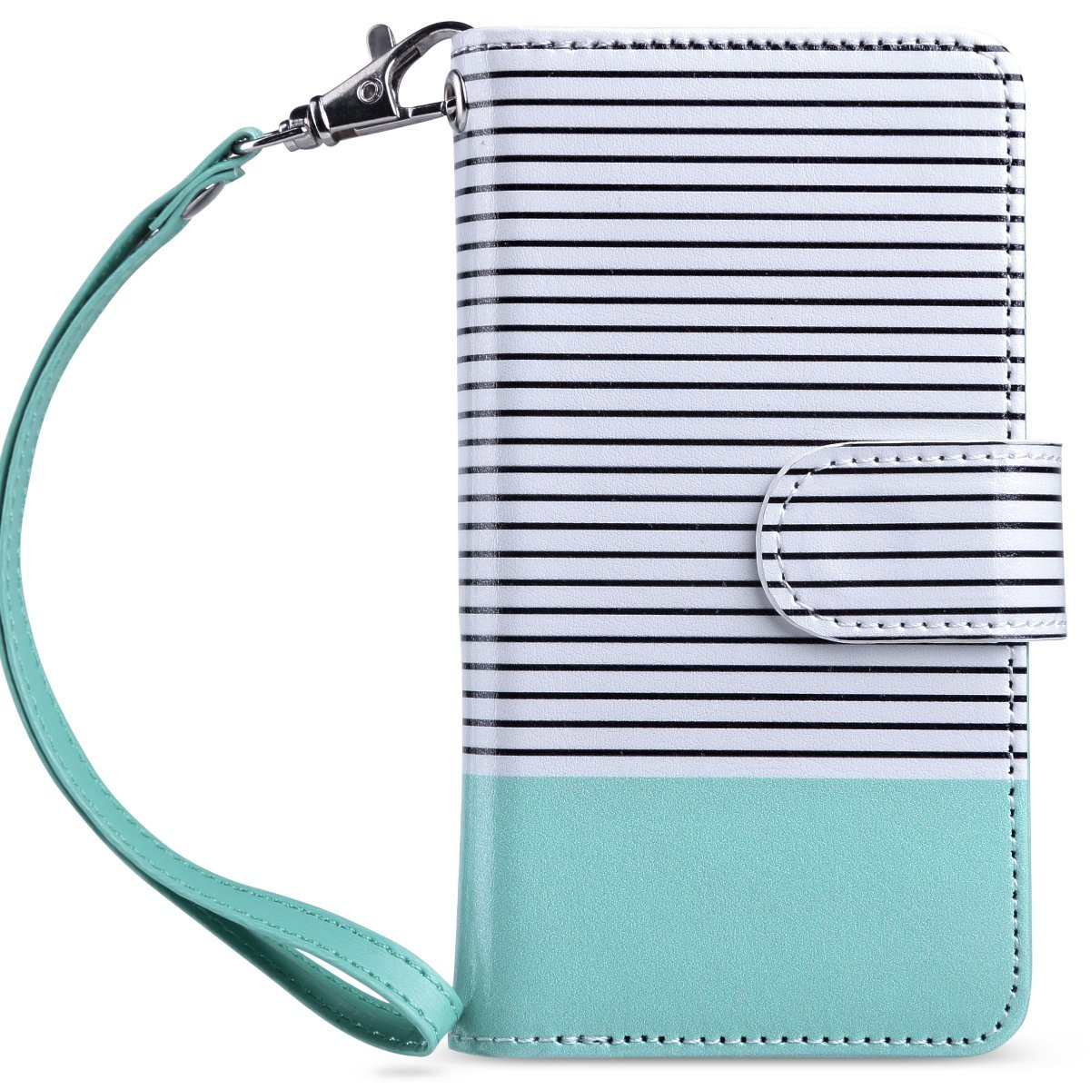 iPod touch 6 Case, iPod Touch 6 Wallet Case,ULAK Premium PU Leather Wallet Case with Kickstand Card Holder ID Slot and Hand Strap Shockproof Cover for iPod Touch 5/6th Gen, Minimal Mint Stripes