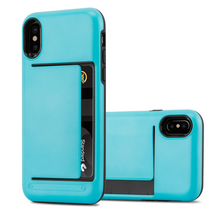 Plastic tpu combo card holder cover case for iPhone X