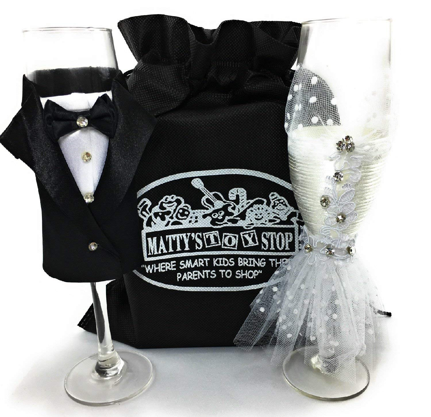Bride and Groom Handmade Wedding Dress & Tuxedo Champagne Flute Glasses Gift Set Bundle with Exclusive Matty's Toy Stop Storage Bag - Perfect for Wedding, Bridal Shower, Engagement & So Much More.