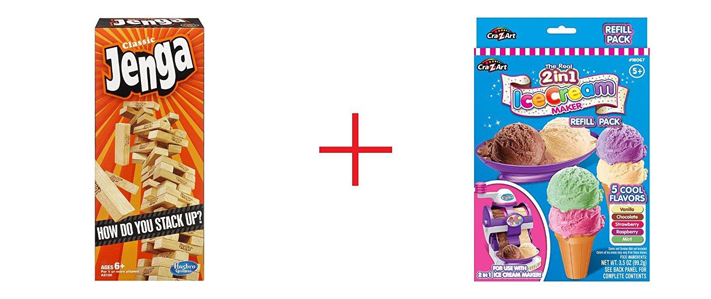 Classic Jenga Game and Cra-Z-Art Twirl & Swirl Ice Cream Maker - Refill Pack - Bundle