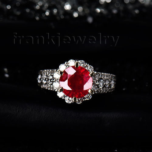 New Arrival Round Cut 7mm Solid 18kt Two Tone Gold Diamond Red Ruby Wedding Engagement Ring Wholesale