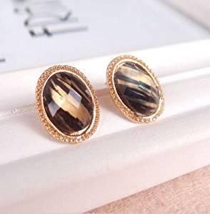 Elegant New Fashion Vintage Pretty Elegant Ellipse Shape Gold Zebra-stripe Earrings