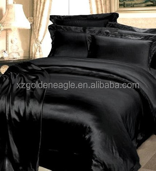 4pcs Solid Black Satin Silk Bed Cover Sets 100% Mulberry Silk Bedding Sets