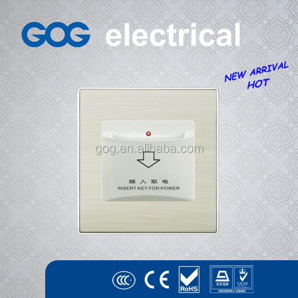 GOG brand hot sale Aluminium panel key card switch insert card for power hotel energy saving switch made in China