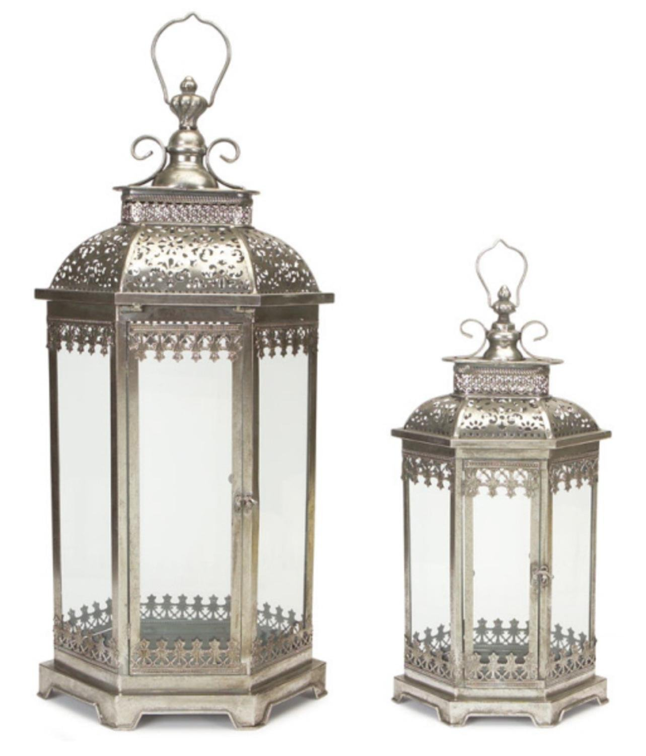 Get Quotations  Set of 2 Antique Style Silver Decorative Glass Pillar  Candle Lanterns 30