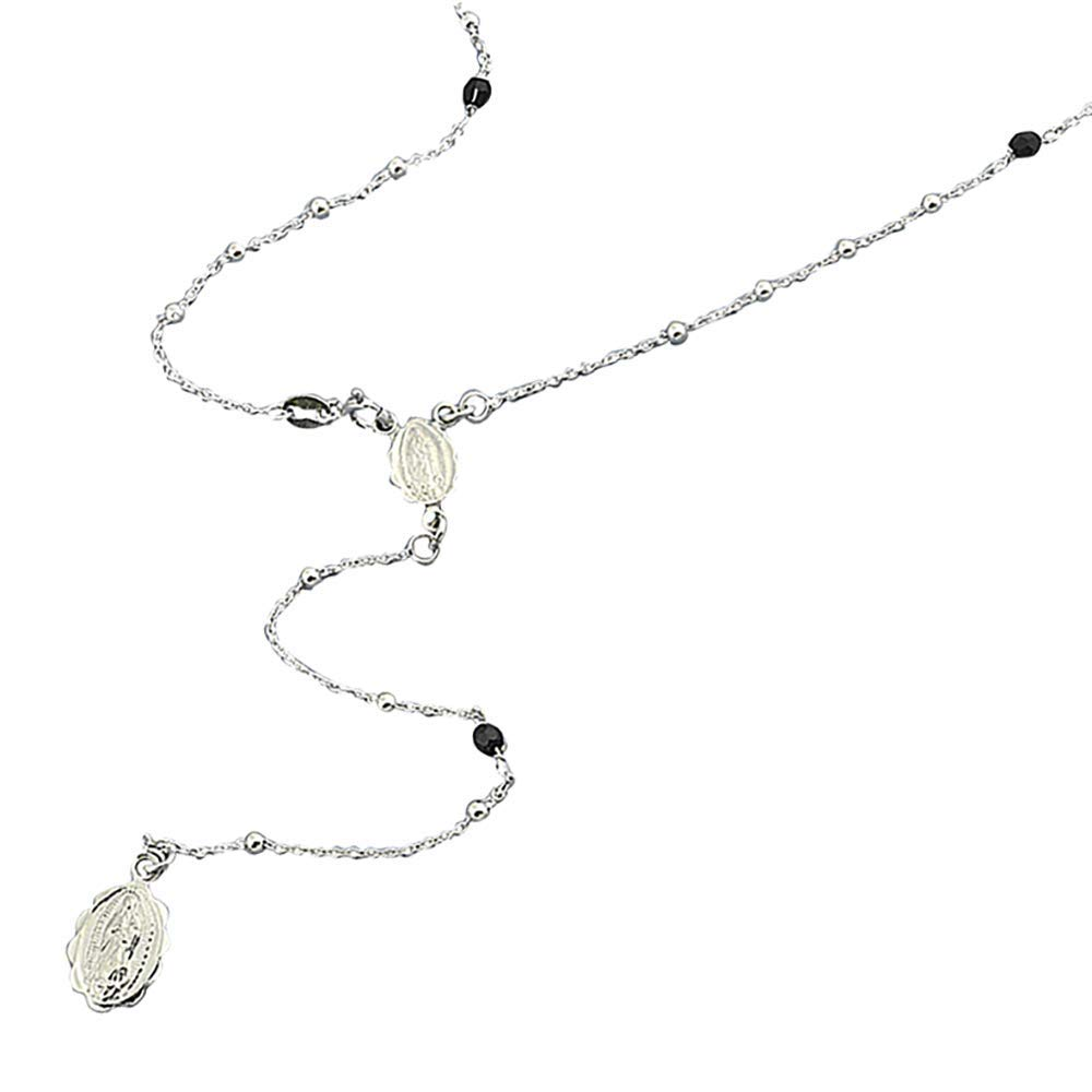 Sterling Silver Rosary Necklace 2mm Bead Black Crystals Italian Rosary Chain (16, 22, 26, 30 Inches)