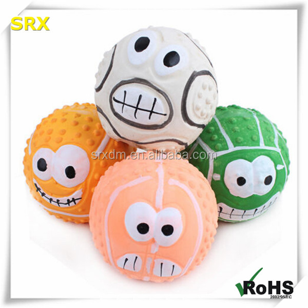 Funny tricky face ball colorful RUBBER vocal stress PET DOG TOYS/custom smell good plastic vocal rubber dog pet ball training