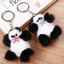 Wholesale New Arrival 2018 Custom plush emoji large pom Fur Key Chain Plush Stuffed Panda Keychains
