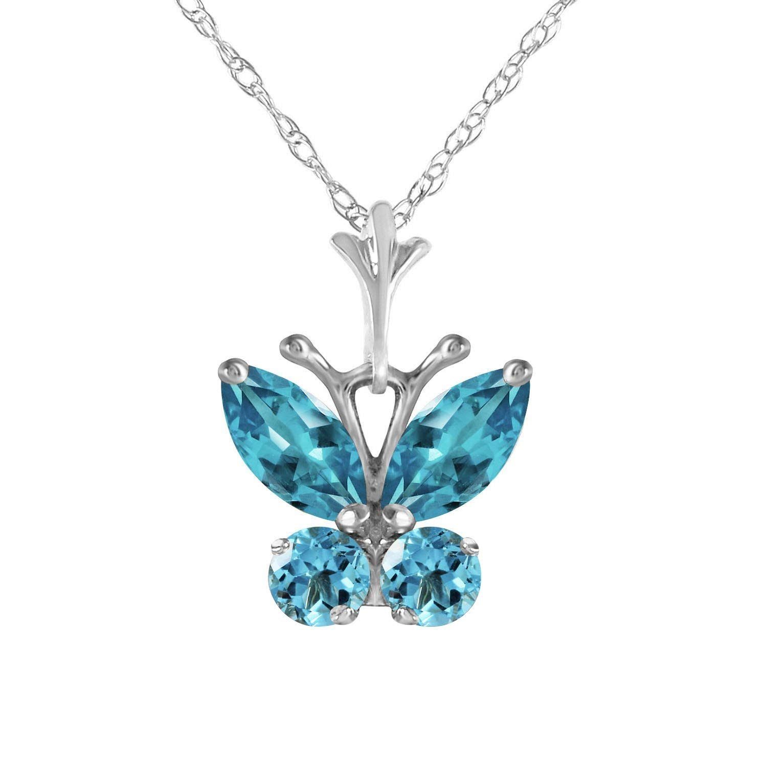 ALARRI 0.7 Carat 14K Solid Rose Gold Butterfly Necklace Opal Peridot with 22 Inch Chain Length