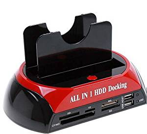 """Top-cofrLD All-in-one Usb2.0 Dual HDD Docking Station for 2.5""""/3.5"""" HDD Sata/ide, Card Reader"""