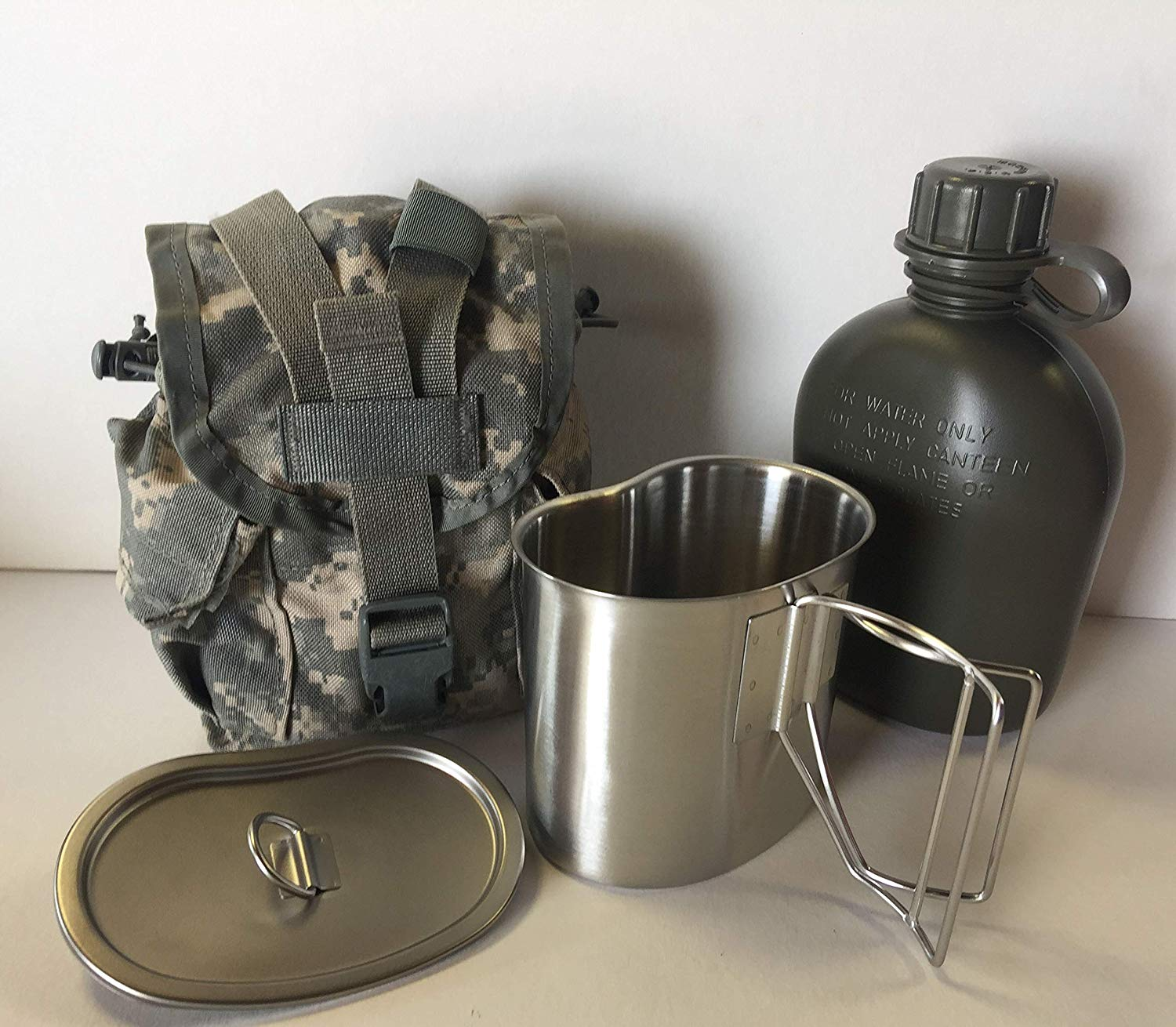 G.A.K 90026 G.I. TYPE, U.S made 1 QT Canteen With Stainless Steel Cup and LID & Military Issue ACU MOLLE II Pouch Kit.