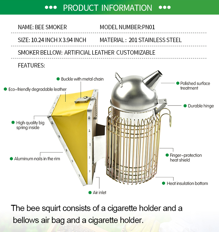 Factory price stainless steel cheap beekeeping bee hive smoker