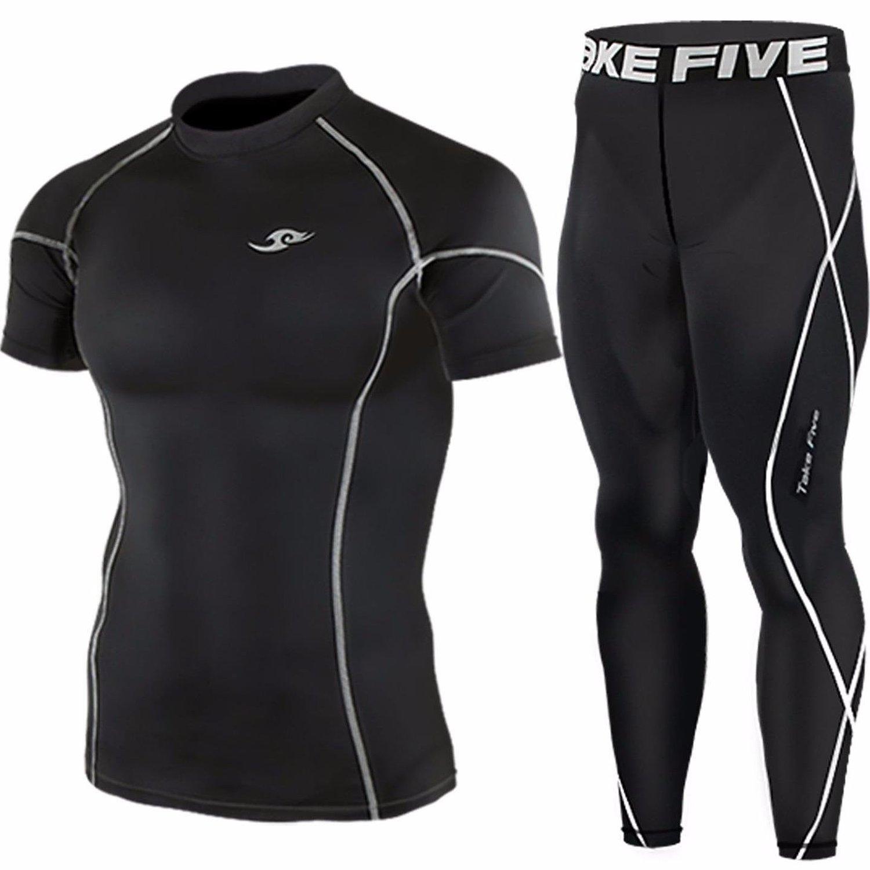 bea8ebbcff Get Quotations · Mens Compression Base Under Layer Skin Short Sleeve Tights  Shirt & Pants Black SET