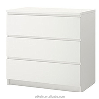 Wooden chest of drawers white color bedroom furniture with 3 drawers