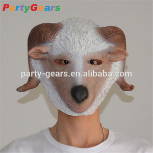 Adult costume rubber latex ram sheep goat head mask
