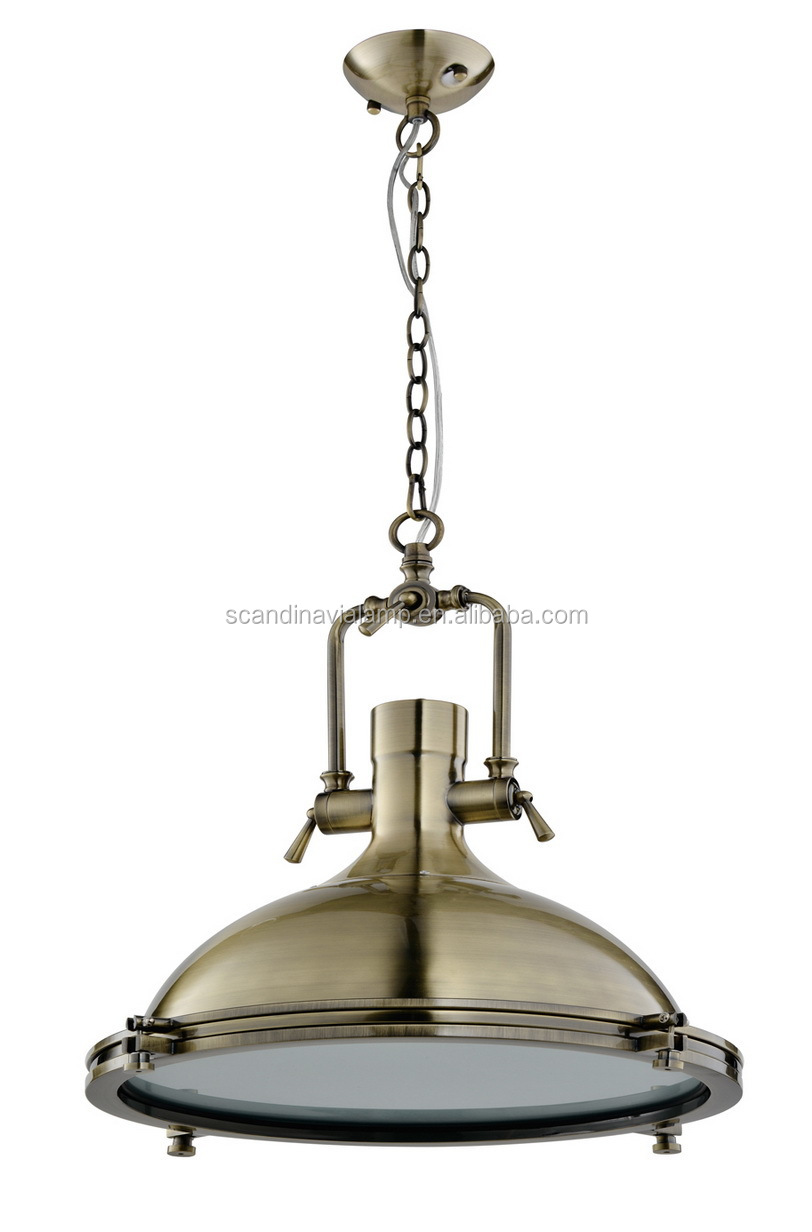 Vintage Industial Harmon Pendant Lighting In Brass And Chrome ...