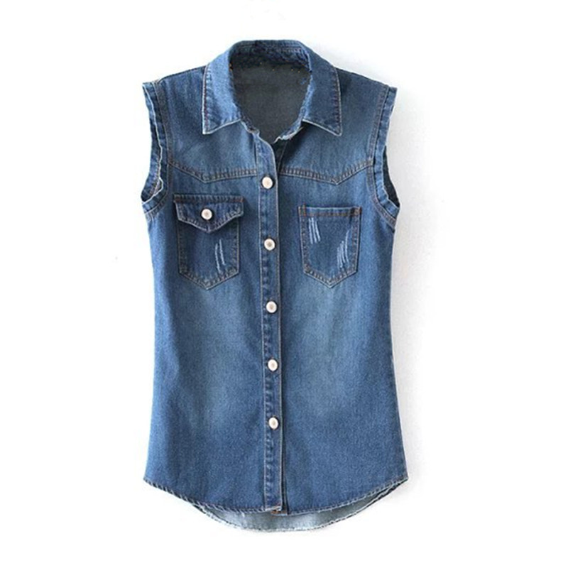 Summer Style Fashion Women Single Breasted Denim Vest Double Pocket Frayed Hole Waistcoat Female Denim Vest