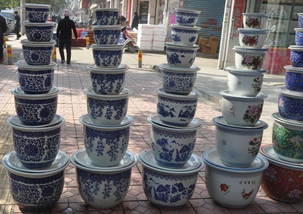 7pcs Set Jingdezhen Blue And White Ceramic Garden Flower Plant Pots