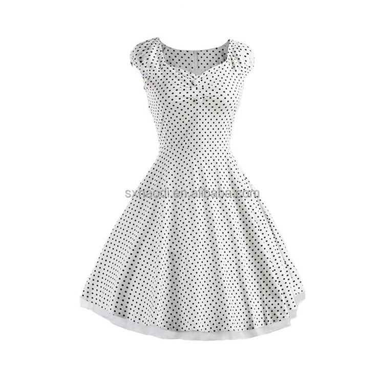 New euramerican hot sale hepburn styles women dresses 50s vintage polka dot high waist tutu rockabilly dress