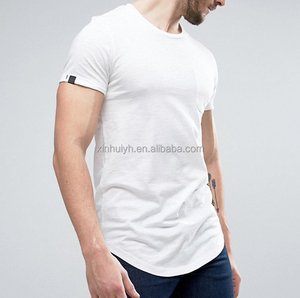 High Quality Bulk Wholesale Plain 100% Cotton Curved Hem Blank Round Neck Long Tail White T-Shirt Men China T Shirt Factory