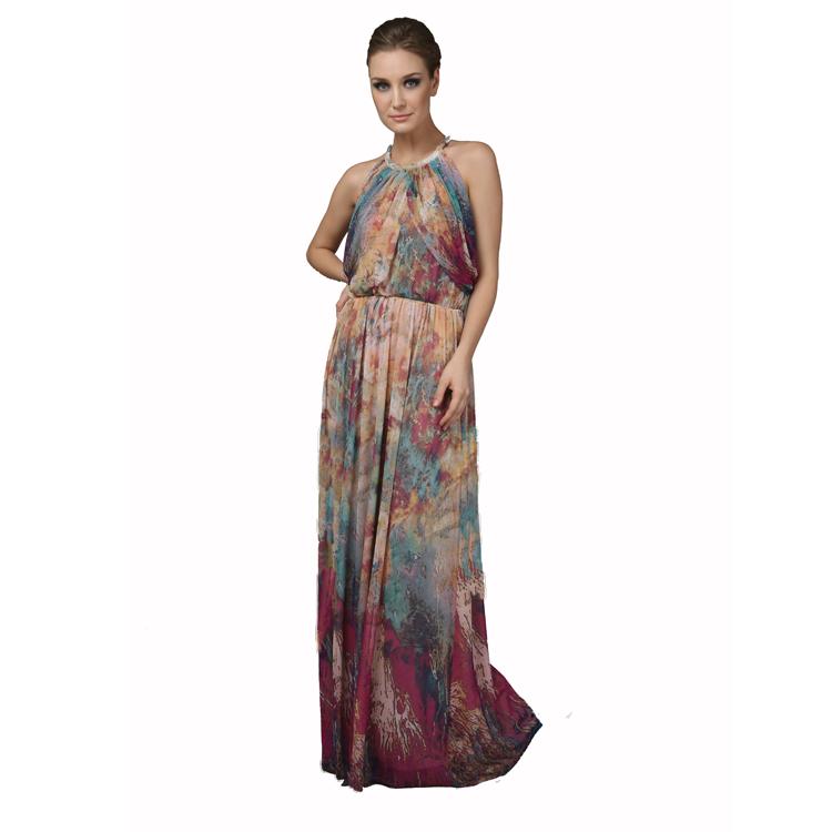 Design de mode Sans Manches Imprimé Soie Dames longue Caftan Femmes Robe 01cc8a4ffc2