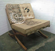 Jute Cushioned Wooden Reclining Chair