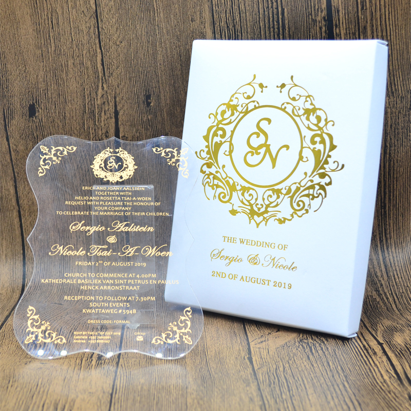 Us 460 0 2019 New Design Product Gold Silk Screen Clear Acrylic Wedding Invitation Card And Customized Gold Foil Card Box In Cards Invitations