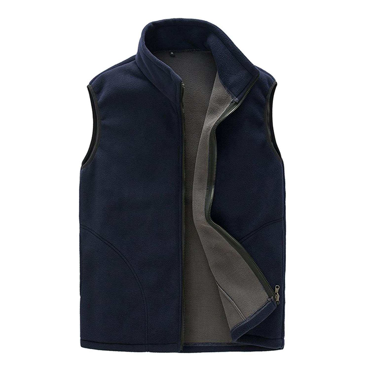 BOSOZOKU Mens Thermal Fleece Vest, Full Zip Gilet Sleeveless Casual Bodywarmer Waistcoat Outdoor Fleece Jacket