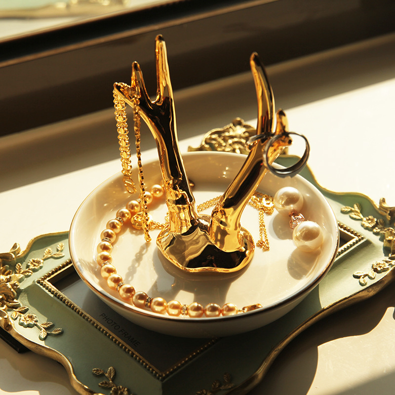 Promotion Ceramic Porcelain wedding Jewelry Ring Holder Dish