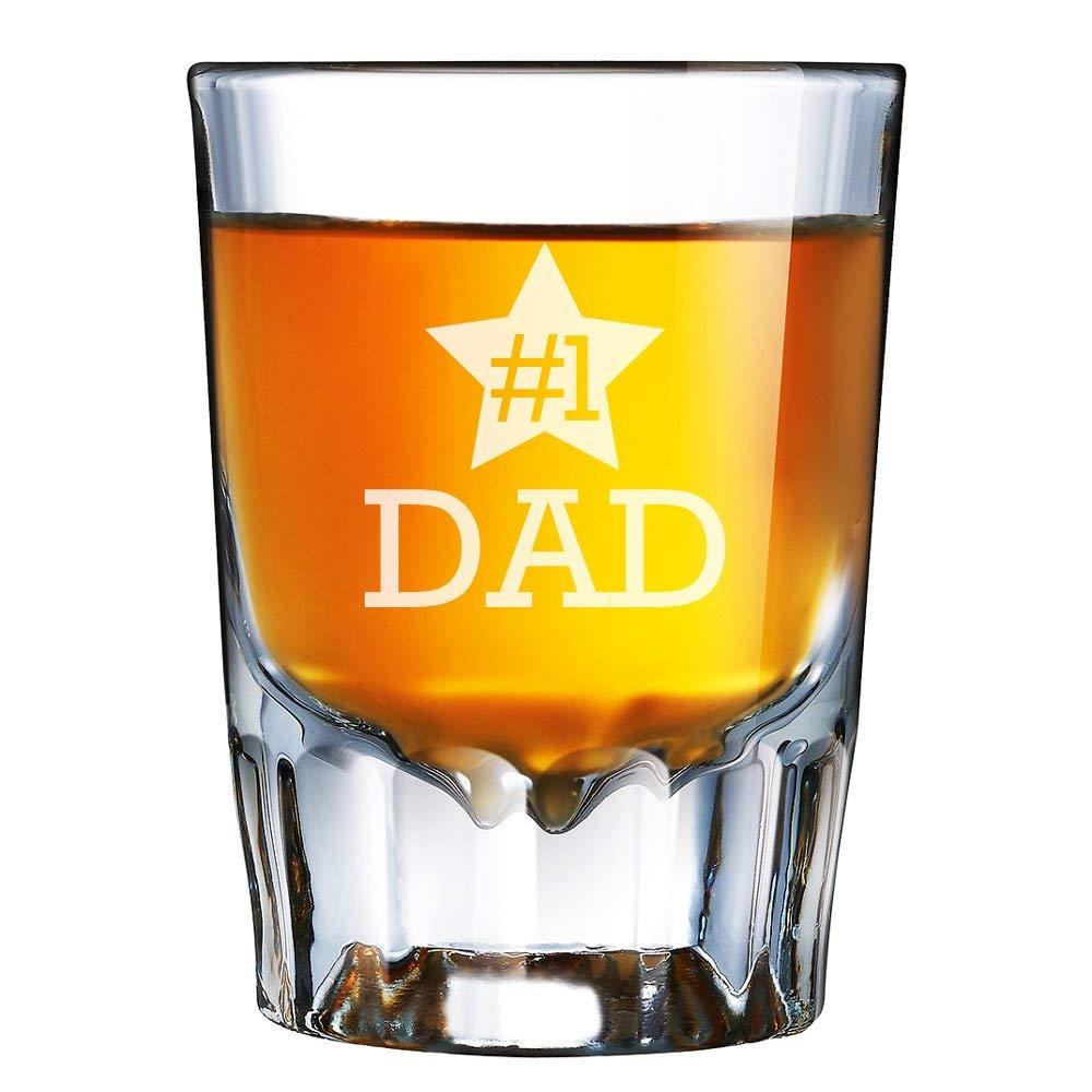 Number 1 One Dad Engraved Barcraft Fluted Shot Glass