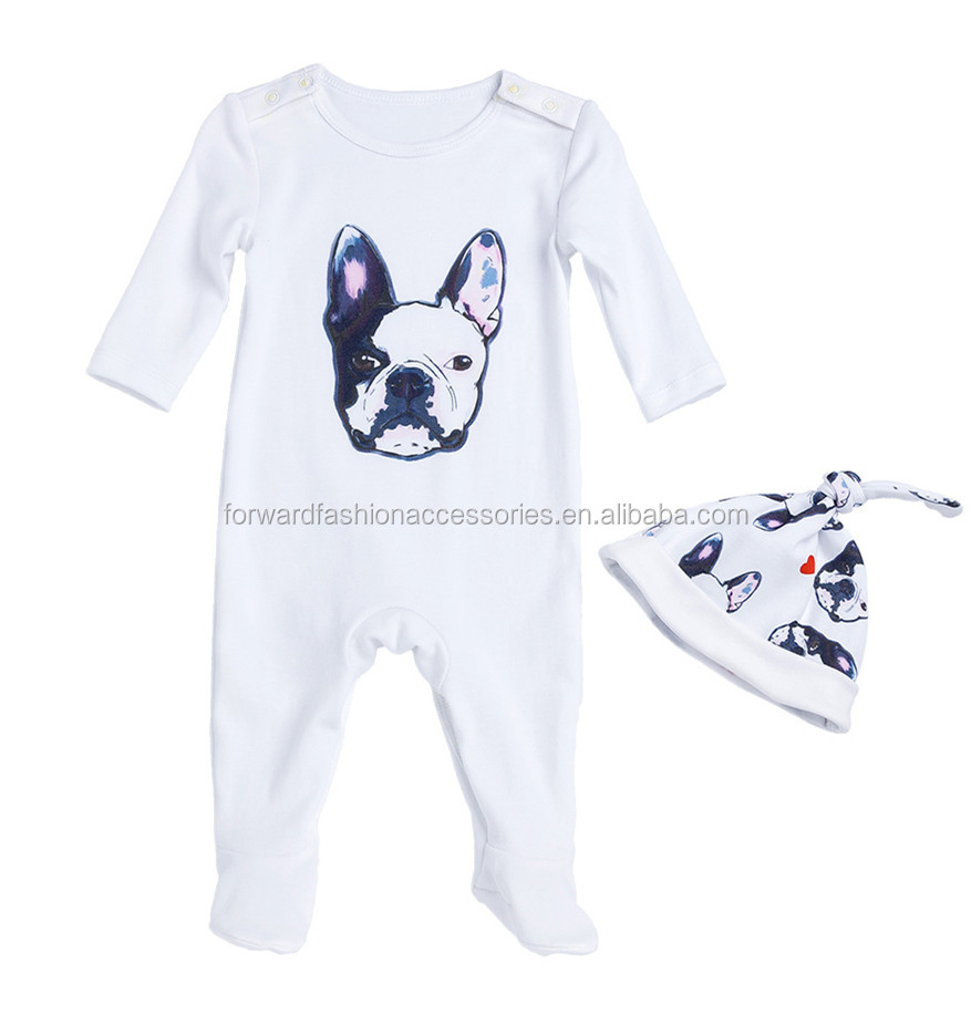 2 Pcs <strong>New</strong> Born Clothing 100% Cotton Print Footed <strong>Baby</strong> Romper <strong>Gift</strong> <strong>Set</strong>
