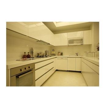 Mewah Dan Kontemporer Tinggi Gloss Putih Akrilik Lemari Dapur Pintu Kabinet