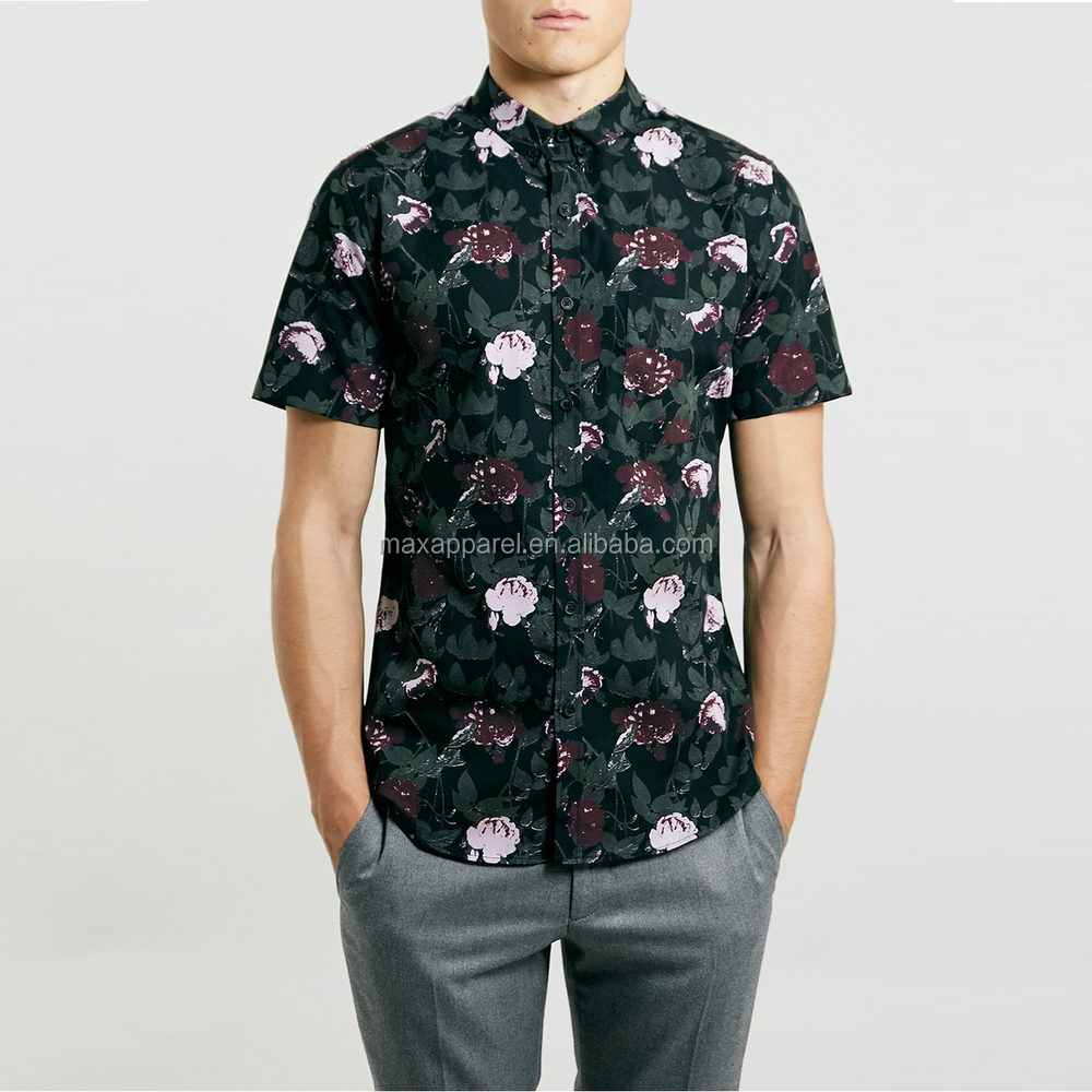 0cf03a03d0015f Fashion Custom Mens Woven Shirt Short Sleeve Flower Printed Hawaiian Shirts