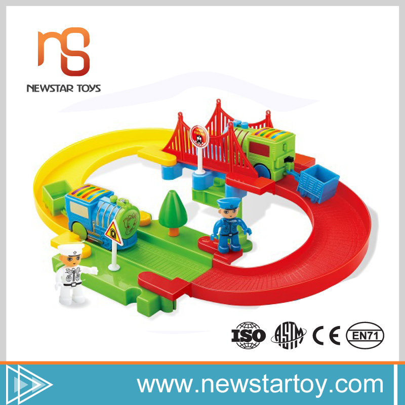 new fashion mini electric toy race track with building blocks for children