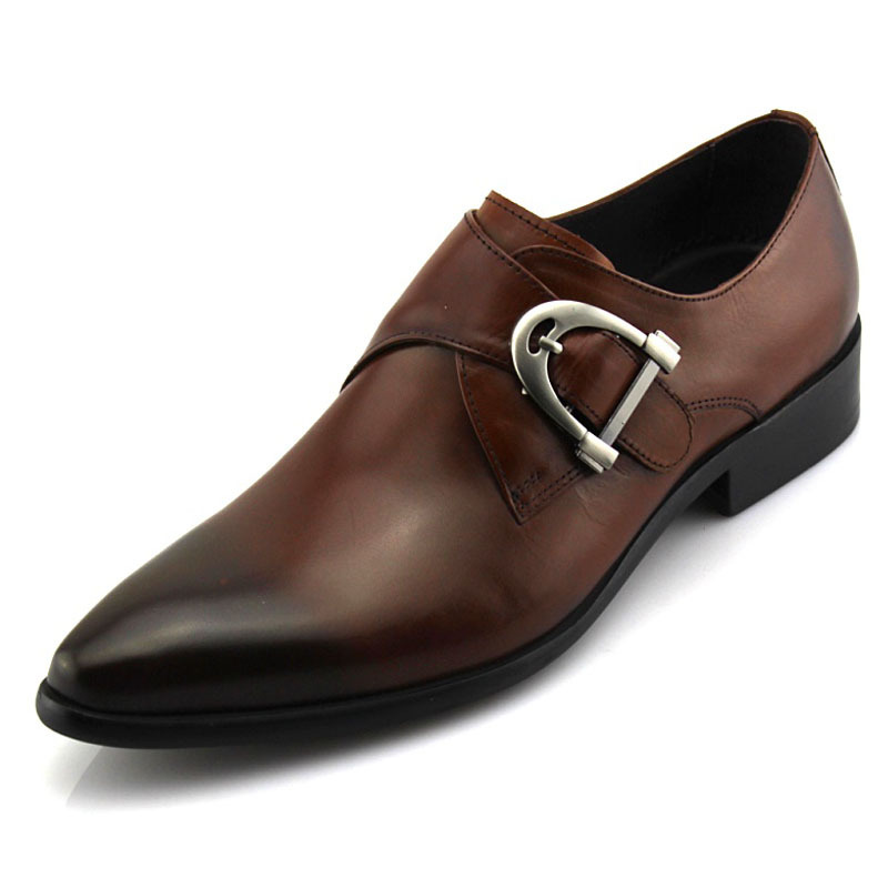 pointed toe Male Oxfords classic leather genuine luxury buckle strap men dress shoes 100% cowhide Black Brown Size 38-44