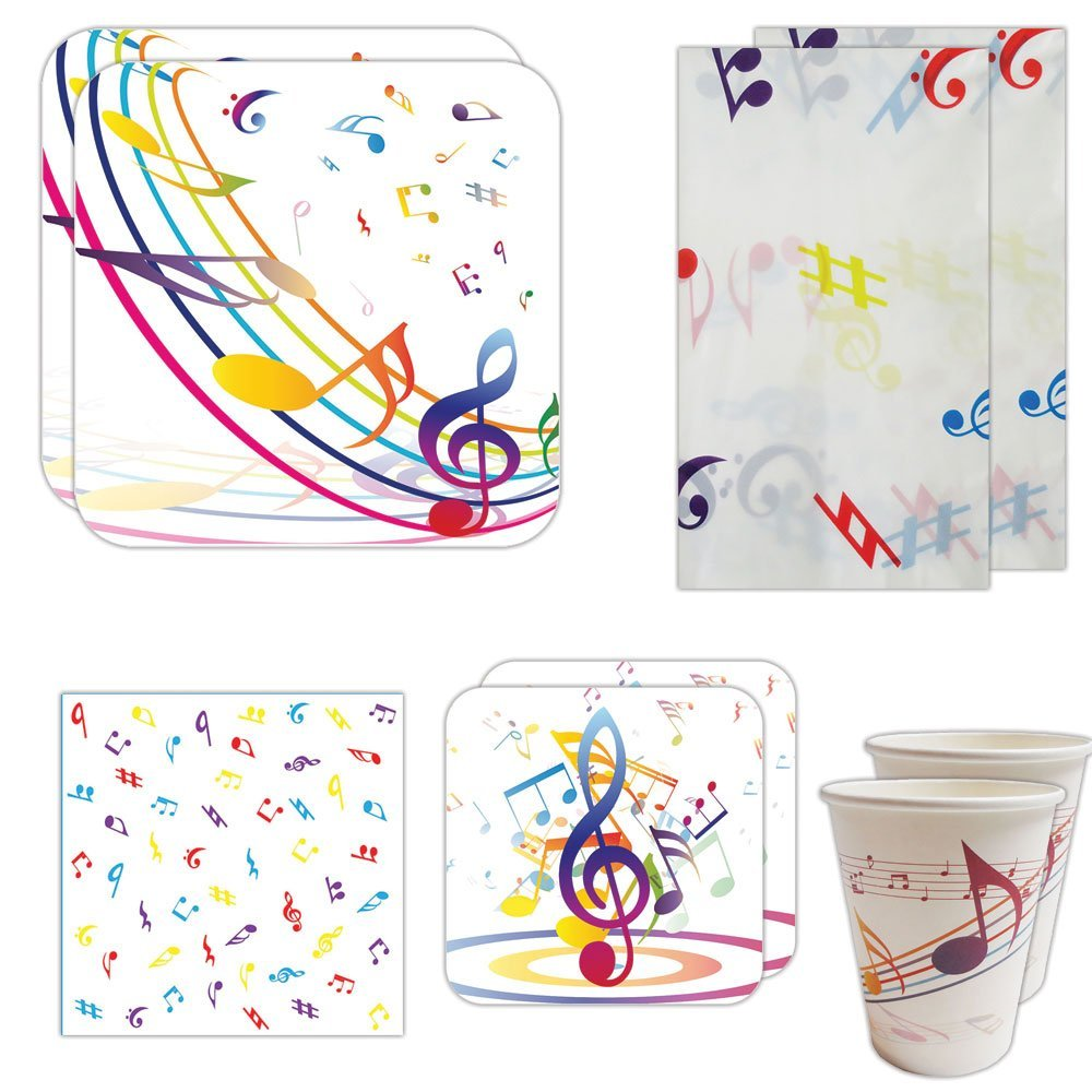 Blue Orchards Music Party Deluxe Party Packs (70 Pieces for 16 Guests!), Music Party Supplies, Music Birthday Decoration