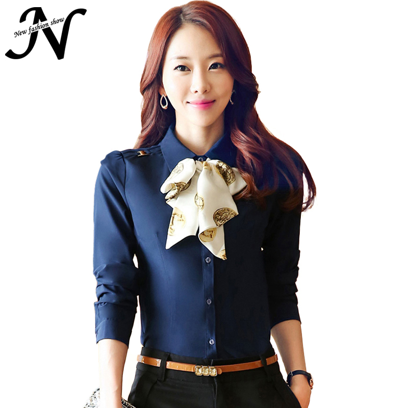 Ladies Office Shirts New 2015 Chiffon Blouse For Fashion Woman Autumn Korean Style Long Sleeve Women Shirts Blue White Tops 6369